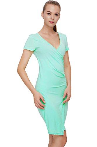 Blau Grun Elegante Manica Corta Profondo Scollo A V Da Cocktail Party Bodycon Delle Donne Indossare Al Lavoro Vestito Dalla Matita Casuale Verde