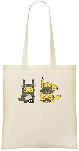 Totoro Eco Custom Stylish Tote Pikachu Handbag Everyday For Friendly Shoulder Use Bags 100 Cotton Bag Custom amp; Printed Soft Grocery znqId7Txq
