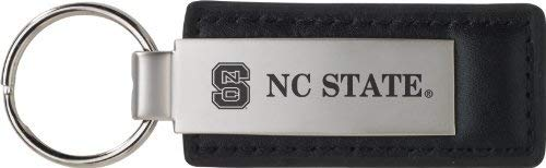 North Carolina State University - Leather and Metal Keychain - Black