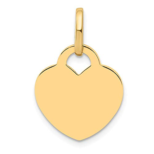 (14k Yellow Gold Heart Pendant Charm Necklace Love Disc Fine Jewelry Gifts For Women For Her)