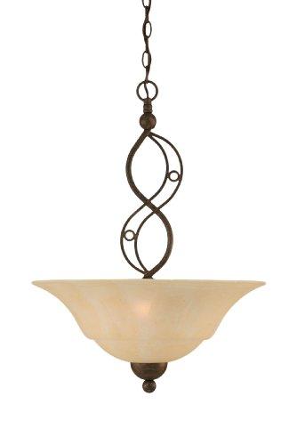 Toltec Lighting 234-BRZ-53813 Jazz Three-Bulb Uplight Pendant Bronze Finish with Amber Marble Glass, (Amber Marble Ceiling Lighting)
