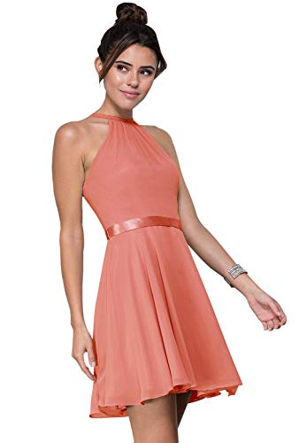 Zhongde Women's Chiffon Short Homecoming Dress Halter Spaghetti Straps Party Evening Gown with Belt Coral Size 2