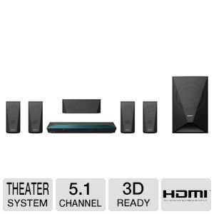 Sony 5.1 Channel 1000 Watts 3D Blu-ray DVD Surround Sound Home Theater System with Full HD 1080p, Built-in Wi-Fi, 2D to 3D Conversion, Bluetooth Wireless Streaming, Dolby TrueHD and DTS-HD Sound Modes, Front-Panel USB Port, HDMI output, FM Tuner, I/P Nois by Sony