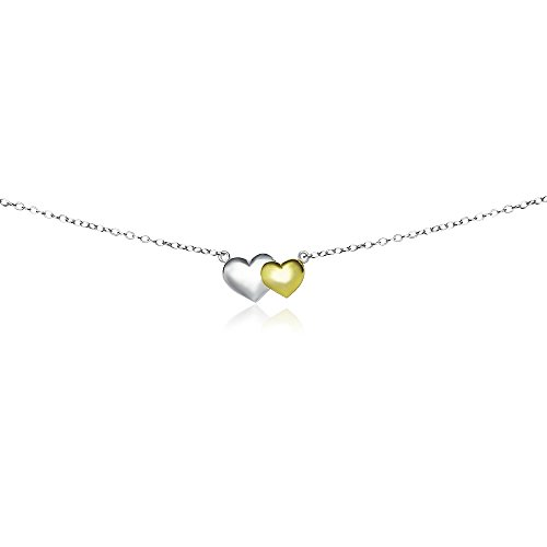 (Sterling Silver Two-Tone Double Heart Choker Necklace )