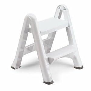Rubbermaid EZ Step Folding Stool, 2-Step, White