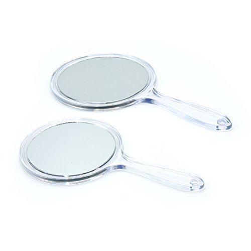 Table or Hand Vanity Mirror male up Set of 2 Mirror Large and Small ()