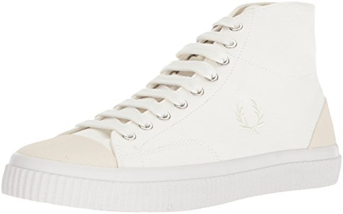 Fred Perry Hughes Mid Canvas Sneaker, Snow White, 7 D UK (8 US)