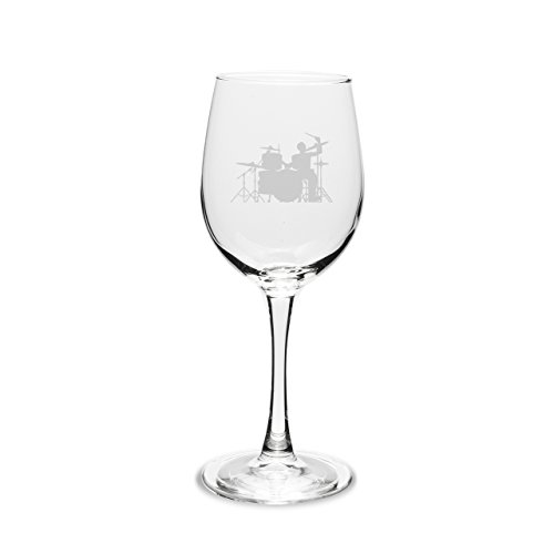 - CC Gifts Drummer 12 oz. Deep Etched Wine Glass