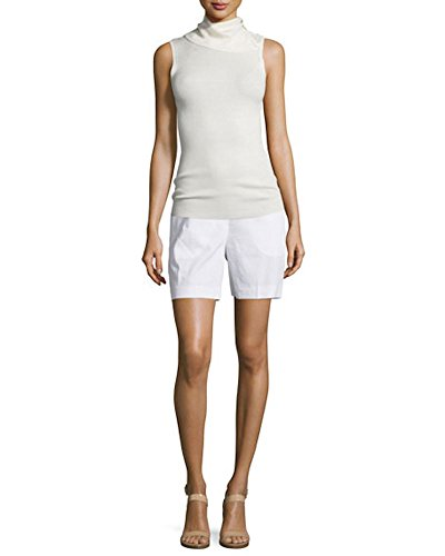 Theory Harsbie Crunch Wash Shorts, White, Size 4 by Theory