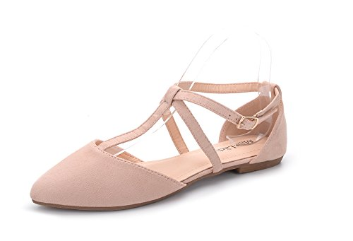 (Mila Lady Laurel Womens Pointed Toe Ankle Strap T-Strap D'Orsay Dress Flats Shoes,NUDE5.5)