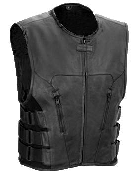 The Nekid Cow Mens Premium Black Leather Motorcycle Swat Team Vest with Interior Armor - Tactical Outlaw Black Biker Vests for Men - Law Enforcement Style Protective Armor with Side Adjustment (2XL)