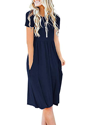 DB MOON Women's Summer Casual Tshirt Dresses Short Sleeve Empire Waist Swing Dress with Pockets Navy Blue XL