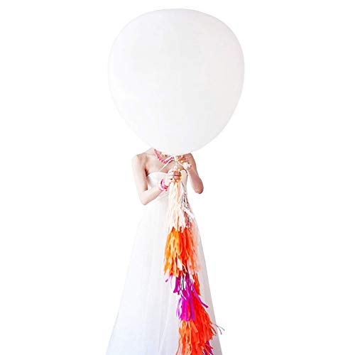 AZOWA Large White Party Balloons 36 in White Round Latex Balloons Party Decorations 6 Pack -