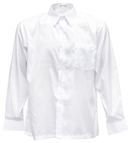(Thai Silk Men's Long Sleeve Shirt (White, L))