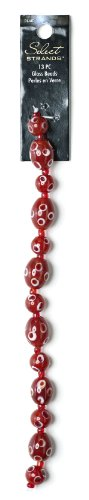 Plaid Select Strands Classic Jewelry Polka Oval Glass Beads, 14301 Red (Set of 13)
