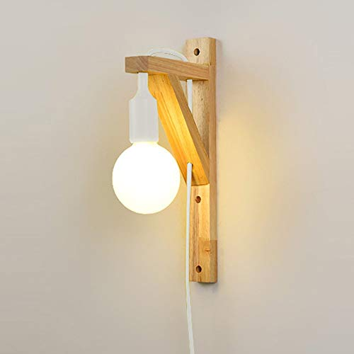 Nordic Simplicity Solid Wood Led Wall Light Creative Personality Bedroom Hanging Line Wall Lamp E27 Single Head Wall Sconce Lights For Dining Room Living Room Kitchen Balcony (Color : Yellow)