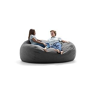 Big Joe Lux XXL Fuf Foam Filled Bean Bag Chair, Union, Gray