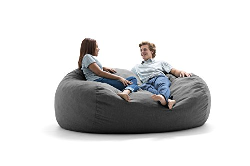 Big Joe Lux XXL Fuf Foam Filled Bean Bag Chair, Union, Gray by Big Joe