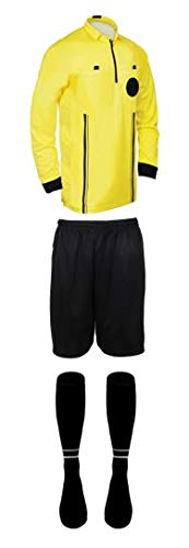 New! 2018 Pro Soccer Referee Package Full Sleeve (3 Piece) (Yellow, AXL (Chest ()