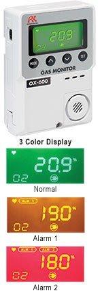 RKI 72-1004 OX-600 oxygen monitor,0-25%,battery operated (2 AA batteries)