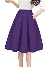 Women s Vintage A-line Printed Pleated Flared Midi Skirts with Pockets 8b30e53b28