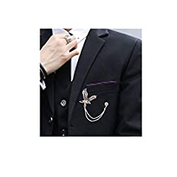 Men's Elegant Silver Tone Eagle Cross Crystal Chain Brooch for Suit