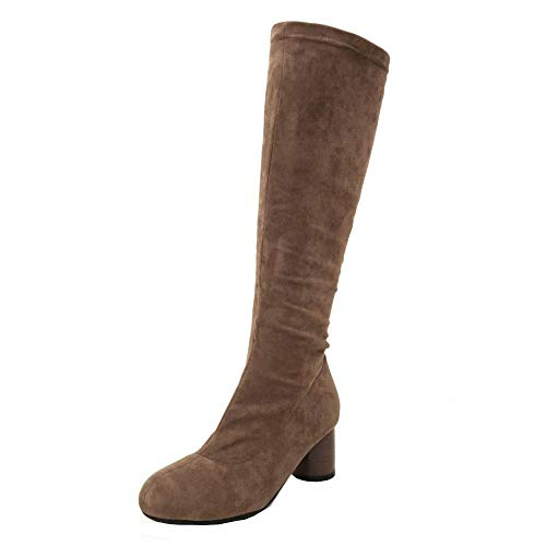 Boots Brown Femmes Bottes Mi Stretch Bloc Taoffen mollet Hiver Talon g86qwnZvB