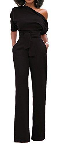 Alaroo Women#039s Off Shoulder High Rise Long Jumpsuit Romper With Side Zipper Black XL