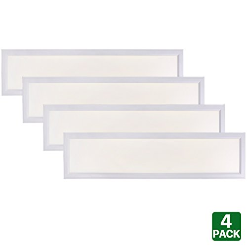 4 Pack Hykolity 1ft X 4ft Ultra Thin Edge-Lit 40W LED Flat Panel Light Residential Flushmount Surface Mount/ Commercial Drop Ceiling Dimmable Ceiling Lamp Fixture 4000lm