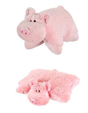 "My Pillow Pets Large 18"" Square Wiggly Pig Plush Pillow"