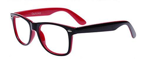 d12c3c17d424 Goson Vintage Hipster Nerd Red Black two tone Frame Clear Lens Wayfarer 57  mm Glasses