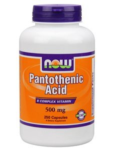 Now Foods Pantothenic Acid, 250 caps / 500 mg (Pack of 2)