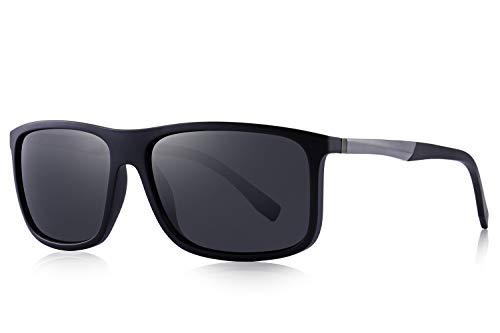 OLIEYE Polarized Square Sunglasses for Men Sports Aluminum Legs O8132 (Matte Black, 58)