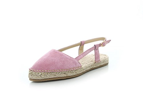 AgooLar Women's Buckle Pointed Closed Toe Low-heels Imitated Suede Solid Sandals Pink npJIsKM