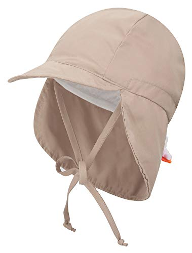 Livingston Toddler's SPF 50+ UV Sun Ray Protective Safari Hat w/Neck Flap,Khaki