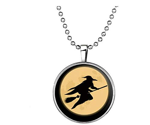 (Gbell Halloween Women Necklace,Glow in The Dark Night Gemstone Witches Necklace Gift for Girls Lady Halloween Costume Party Dress Up,1Pcs,60CM)