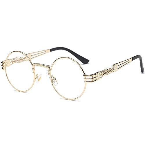 Dollger Round Clear Sunglasses Gold Metal Frame John Lennon ()