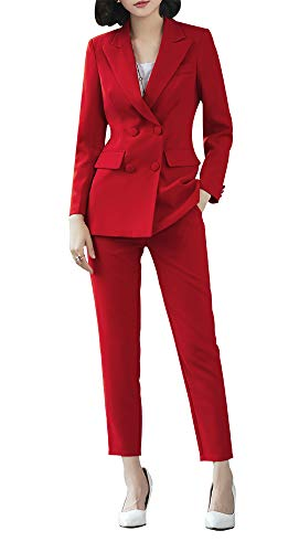 Women's Two Pieces Blazer Office Lady Suit Set Work Blazer Jacket and Pant (Red, 2XL)
