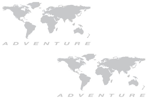 """The Pixel Hut gs000038b Adventure Motorcycle Decal Kit """"World Adventure Map"""" for Touratech Panniers - Silver"""