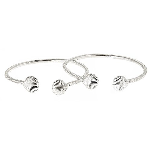 Sea Shell .925 Sterling Silver West Indian Bangles (PAIR) (MADE IN USA)