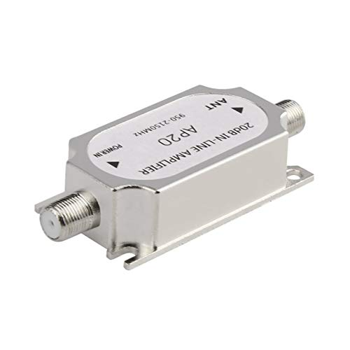 in-line Amplifier,Satellite 20dB in-line Amplifier Booster 950-2150MHZ Signal Booster for Dish Network Antenna Cable Run Channel Strength