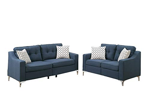 Benzara BM168716 Polyfiber Sofa with Loveseat and Cushions,