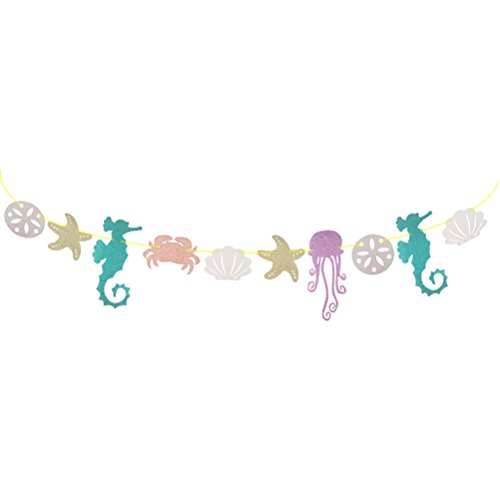 LUOEM Glitter Banner Hawaiian Luau Garland Seahorse Jellyfish Seashell Crab Sea Star for Summer Pool Kids Birthday Party Decoration ()