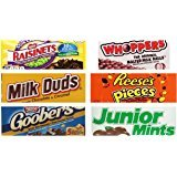 Movie Theater Candy Bundle includes 1 Milk Duds, 5 ounce, 1 Whoppers, 5 ounce, 1 Junior Mints, 3.5 ounce, 1 Goobers, 3.5 ounce, 1 Reese's Pieces, 4 ounce, 1 Raisinets, 3.5 ounce