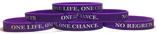 TheAwristocrat 6 Pack ONE Life, ONE Chance. NO Regrets Inspirational Silicone Wristband Rubber Bracelet (Purple, Youth (7