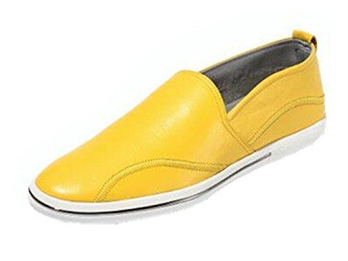 Happyshop (tm) Heren Casual Lederen Geventileerde Lichte Mocassin Slip-on Penny Loafers Drijfschoen Geel