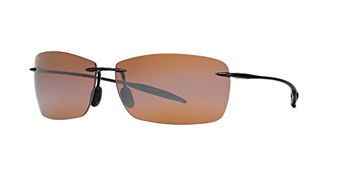 Maui Jim Mens Lighthouse Sunglasses (423) Black Shiny/Bronze Plastic,Acetate - Polarized - - Sport Jim Maui Mj
