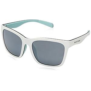 Native Eyewear Braiden Sunglass, Matte White/Gray/Mint, Silver Reflex Lens