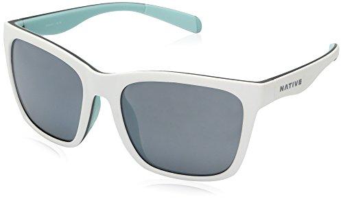 Native Eyewear Braiden Sunglass, Matte White/Gray/Mint, Silver Reflex ()