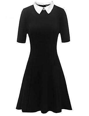 Aphratti Women's Short Sleeve Casual Peter Pan Collar Flare Dress
